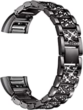 bayite Bling Bands Compatible Fitbit Charge 2, Replacement Metal Bands Rhinestone Bracelet