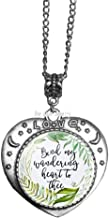 Bind My Wandering Heart to Thee Green Leaf Floral Charm Necklace Bible Verse Jewelry Fashion Gift for Christian Women Men,TAP199