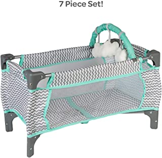 Adora Baby Doll Crib Zig Zag Deluxe Pack N Play, Fits Dolls up to 20 inches, Bed/Playpen/Crib, Changing Table, Mobile with 3 Clouds and Storage Bag