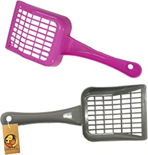 Foodie Puppies Durable Plastic Rectangle Holes Litter Scooper for Cat/Kitten (Color May Vary) (Pack of 2)