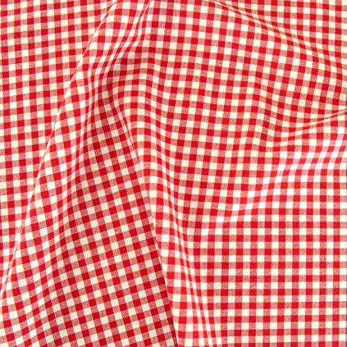 TOLKO 50cm Baumwollstoff kariert | der Vichy-Karo Klassiker zum Nähen/Dekorieren aus Baumwolle als Kleiderstoff Dekostoff Bezugsstoff | in 5 Farben | 160cm breit - Meterware (5 x 5 mm, Rot)