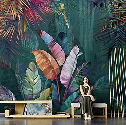 KJBZXD34 Papel tapiz 3D nórdico pintado a mano plantas tropicales hoj