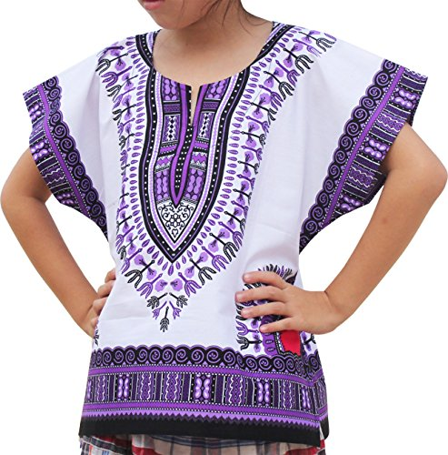 RaanPahMuang Unisex Bright African White Children Dashiki Cotton Shirt, 10-12 Years, Blue Violet on White