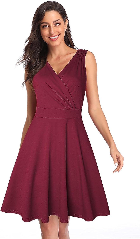 JDLAX Evening Dress Women's Vintage Sleeveless V-Neck Cocktail Swing Dress Wine red-S