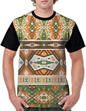 Crew Neck Short Shirts,Tribal,Vector Design with Tattoo Aztec Mayan Culture Style Stripes Shapes Print, Amber Fern Green Brown S-XXL Men's Regular Top Sleeve