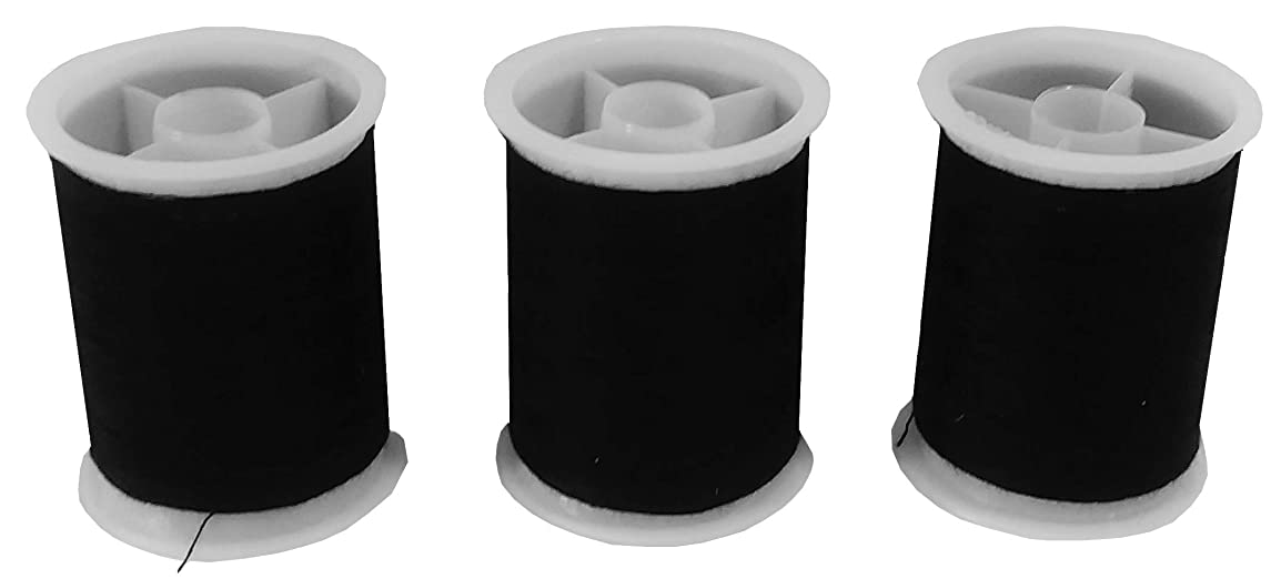 Black Sewing Machine Cotton Thread - All-Purpose Dual Heavy Duty 450 Yards (3 Spools of 150yd) of Yarn