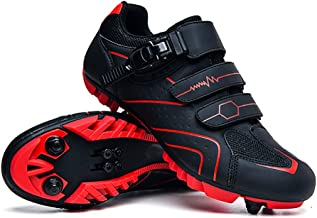 Elite SPD MTB Cycling Shoes for Men Women Ideal for Mountain, Cyclo Cross Country XC Bikes in Included Red-44