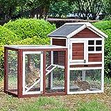 Merax Rabbit Hutch Indoor and Outdoor Bunny Cage 2...