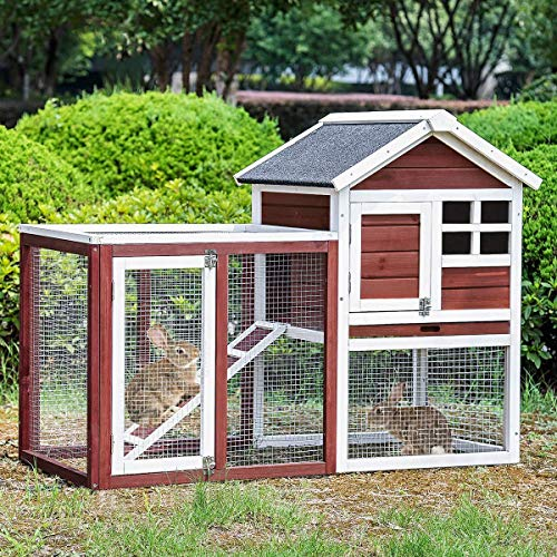 Merax Rabbit Hutch Indoor and Outdoor Bunny Cage 2 Story Pet House Chicken Coop Poultry Cage with Removable No Leakage Tray (Auburn & White)