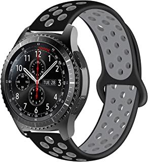 22mm Quick Release Watch Strap Compatible for Samsung Gear S3 Frontier/Classic/Galaxy Watch 46mm/ Huawei Watch 2 Classic/Huawei Watch GT Silicone Replacement Band -Sport Black/Grey