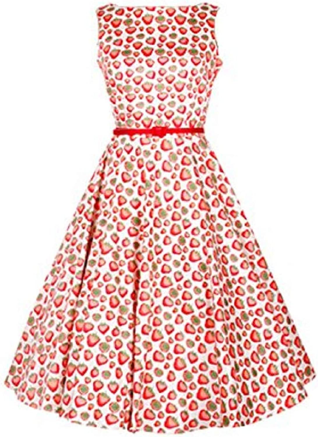Ahlsen Women's 50's Retro Sleeveless Casual Church Dresses with Belt