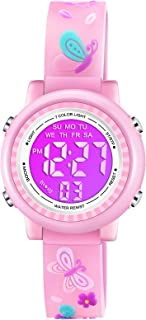 Venhoo Kids Watches 3D Cartoon Waterproof 7 Color Lights Toddler Digital Wrist Watch with Alarm Stopwatch for 3-10 Year Girls Little Child-Pink Butterfly