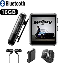 16GB Clip MP3 Player with Bluetooth, Sports Watch MP3 Player with Touch Screen, Mini MP3 Player with Headphones,Voice Recorder,E-Book,Video Play,HiFi Lossless Sound Music Player for Running, 1.5 Inch