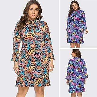 Extaum Women Plus Size Dress Colorful Leopard Print Bow Tied Long Sleeve Ruffle Elegant Midi One-Piece Partywear