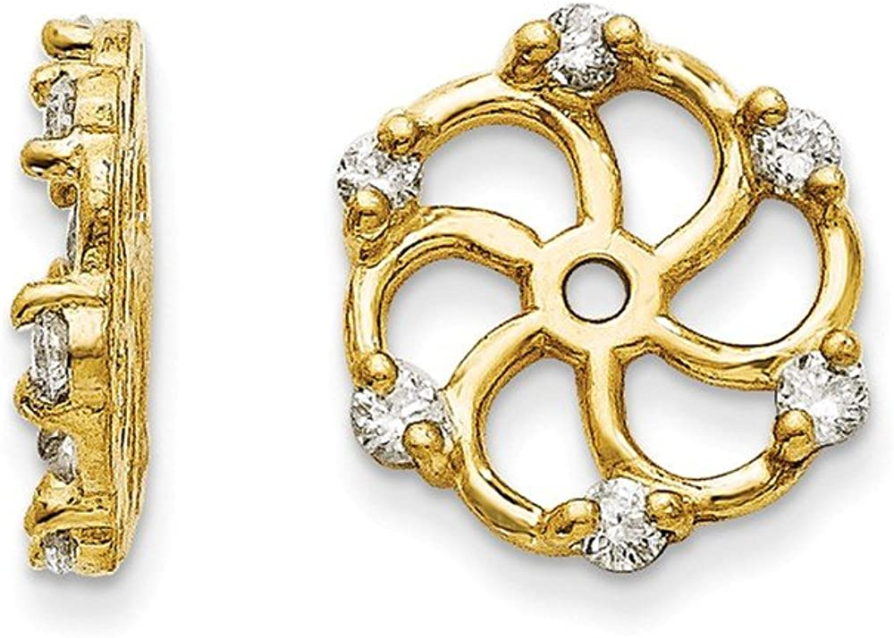 Solid 14k Yellow Gold Diamond Earring Jacket - 9mm x 10mm (.18 cttw.)