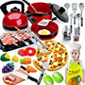 Scientoy Kitchen Toys for Pretend Play, 38 Pcs Toy Cooking Set with Cooking Utensils, Play Food, Chef Coat& Hat, Pizza, Pots & Pans and BBQ Grill for Kids, Learning Gift for Baby Toddlers Girls Boys