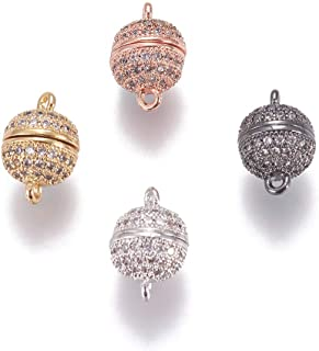 Fashewelry 5 Sets Micro Pave Crystal CZ Cubic Zirconia Round Ball Magnetic Clasps Converters 13.5x8mm Random Mixed Colors Plated Metal Bracelet Necklace Making Closure End Clasps