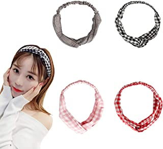 4 Pack,Cute Headbands for Women,Girls Knotted Headband,Workout Nylon Hair Bands,SPA Head Wraps,BOHO Floral Cloth Bandana Headwraps,Wash Face,Makeup,Yoga,Sports Non Slip (Plaid Black,Red,Pink,Brown)
