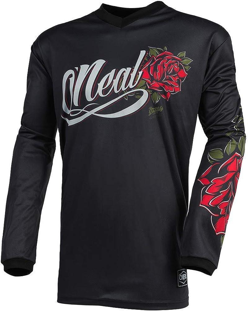 O Neal Women S Jersey Enduro Motocross Atmungsaktives Material Gepolsterter Ellenbogenschutz Damenspezifischer Schnitt Jersey Element Roses Erwachsene Schwarz Rot Bekleidung