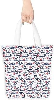 Shopping work bag,Starfish Decor Nautical Pattern Navy Marine Rope Red Starfish Shells Scallops Seahorses,Organic Cotton Washable & Eco-friendly Bags,16.5
