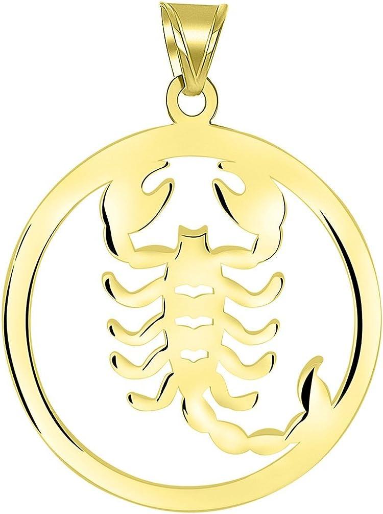 Solid 14k Yellow Gold Round Scorpio Zodiac Symbol Cut-Out Scorpion Pendant