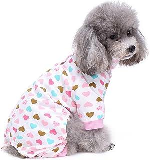 S-Lifeeling - Disfraz de perro con cuello de tortuga y patrón de amor, cómodo pijama para cachorro, suave para perro, el mejor regalo 100% algodón para perro mediano y pequeño