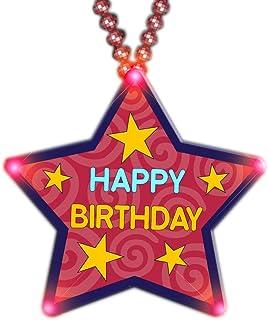 blinkee Huge Happy Birthday Star Beaded Necklace Flashing Body Light Lapel Pins