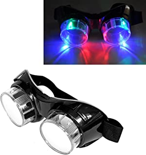Luwint Colorful Flashing Glasses LED Steampunk Goggles - Light Up Glasses for Halloween Christmas Birthday Party Rave Cosplay Costume Show (Black)