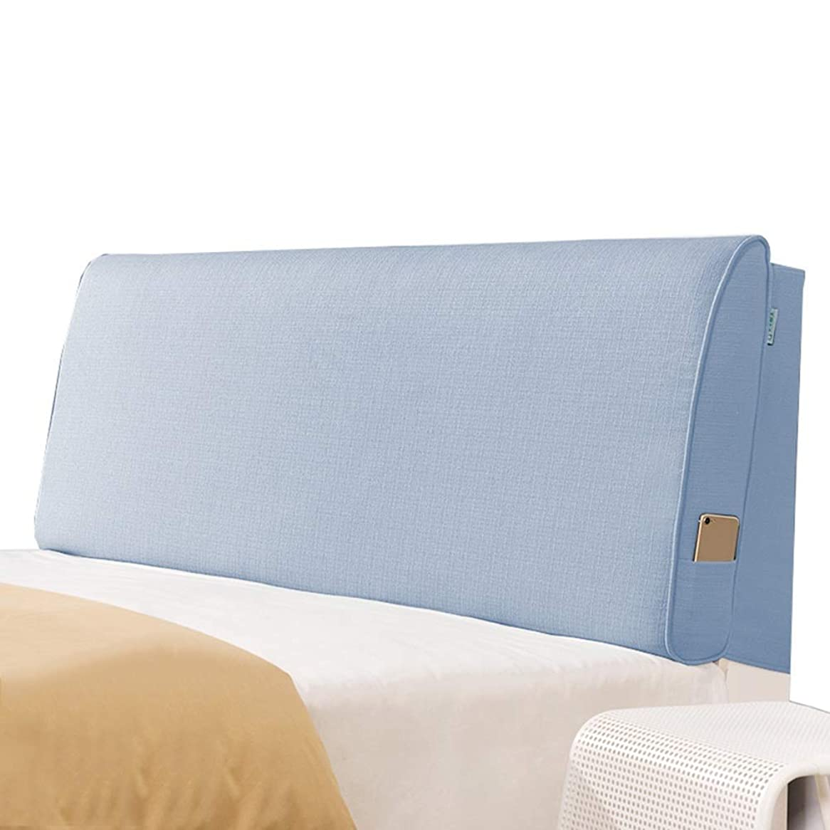 直接耐えられないオプショナルWZBヘッドボードクッション衝突防止枕亜麻通気性快適で快適なウエストをサポート、5サイズ、6色(色:A-Blue、サイズ:150x60x10cm)
