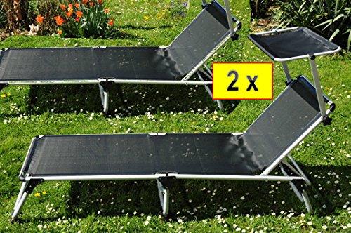 ÖLBAUM 2xCampingliege & Picknickliege, 2 x Klappliege, groß, bequem, stabil, 6-Fach-verstellbare Premium Sonnenliegen mit Sonnendach abnehmbar, 2X Strandliege