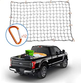 Tchipie 4x6 Ft Bungee Cargo Net for Pickup Truck Bed, Heavy Duty Cargo Netting with 12 Aluminium Alloy Carabiners, Stretches to 8x12 Ft, Small 4x4 Inch Mesh, for Toyota Tacoma Trailer Etc.