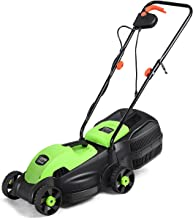Goplus 14-Inch 12 Amp Lawn Mower w/Grass Bag Folding Handle Electric Push Lawn Corded Mower (Green)
