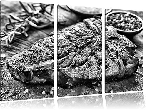 Pixxprint Leckeres Fleisch mit Rosmarin als Leinwandbild | Größe: 3 Teilig (120x80) cm | Wandbild| Kunstdruck | fertig bespannt