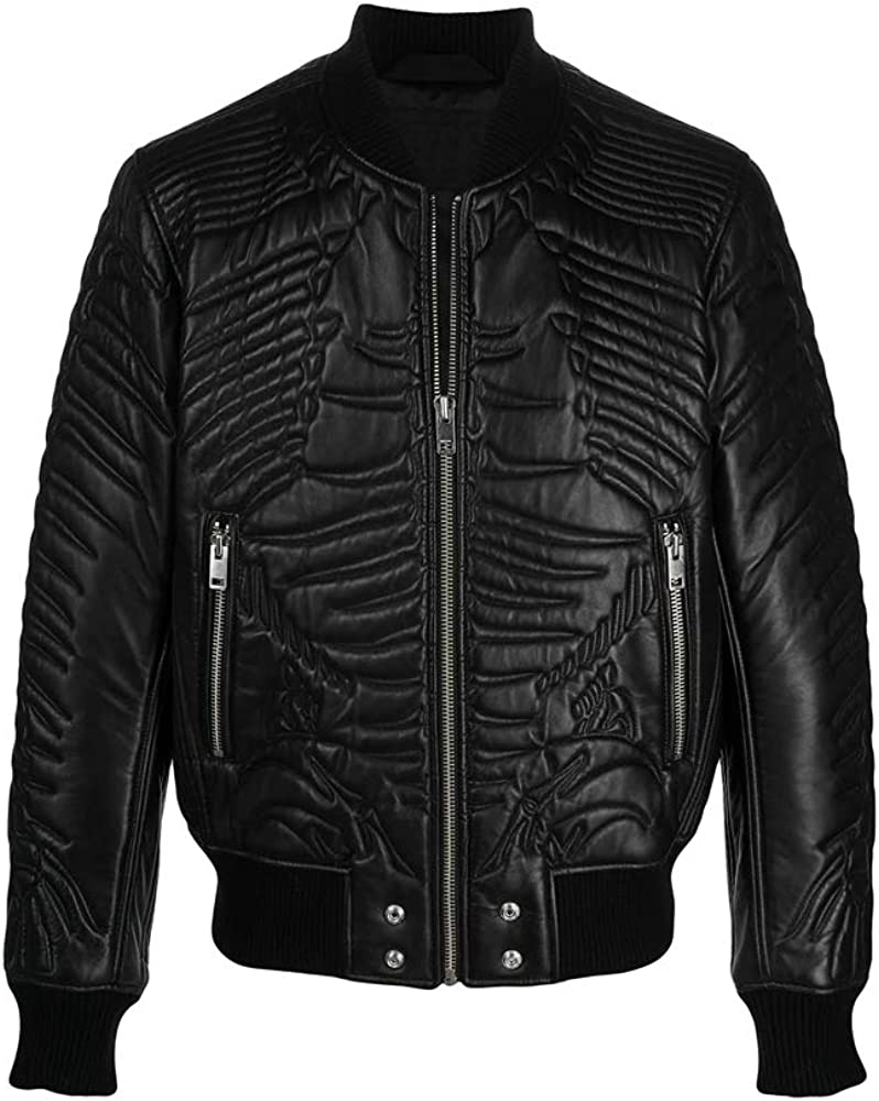 Sheep skin quilted zipped bomber jacket
