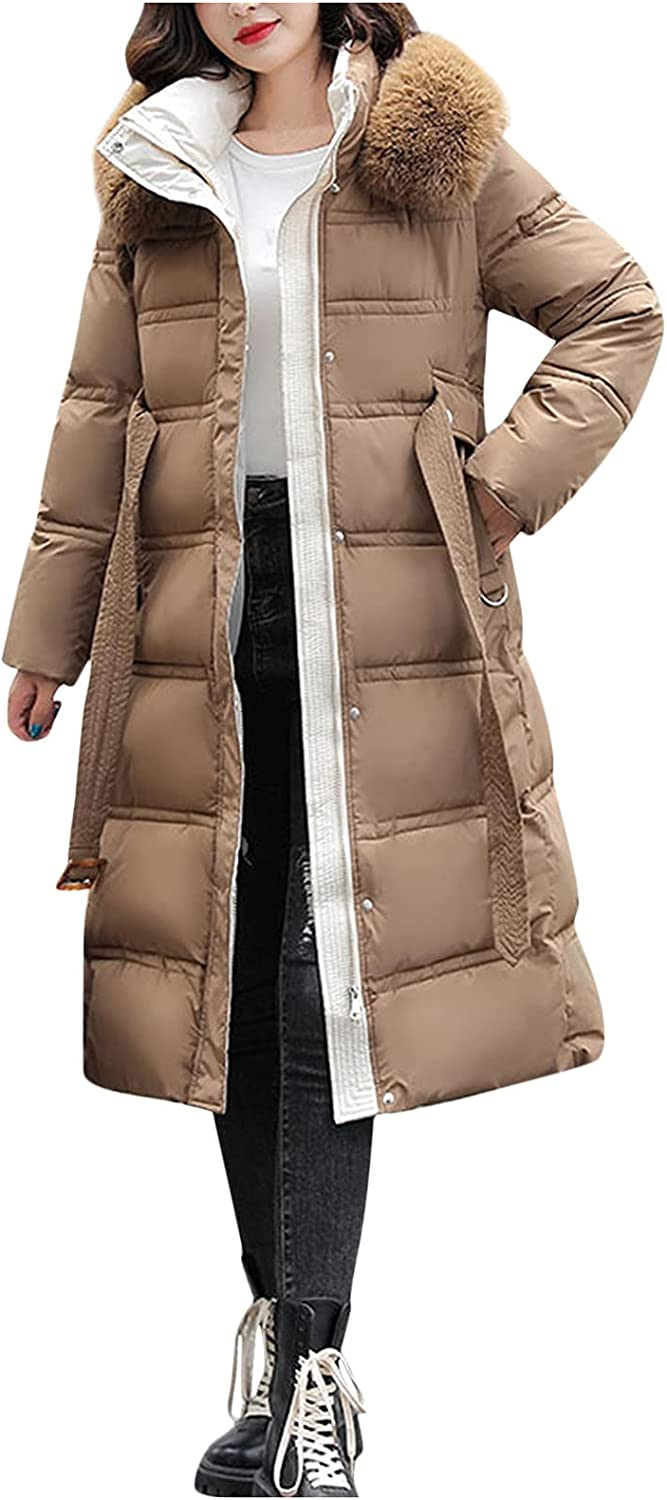Womens Hooded Coat Warm Winter Thicken Cotton-Padded Jacket Quilted Long Sleeve Overcoat Tops