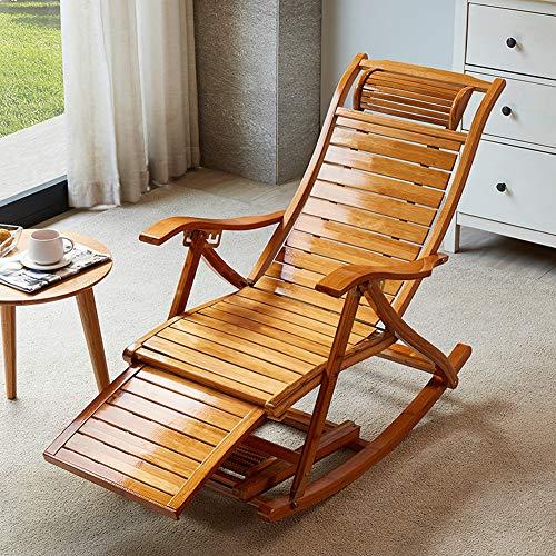 TopJiä Garten Liegestuhl Klappbar Schaukelstuhl,Bambus Sonnenliege Sommer Cool Gartenliege,Verstellbar Entspannen Sie Das Sofa Kippliege Holz Sonnenliege