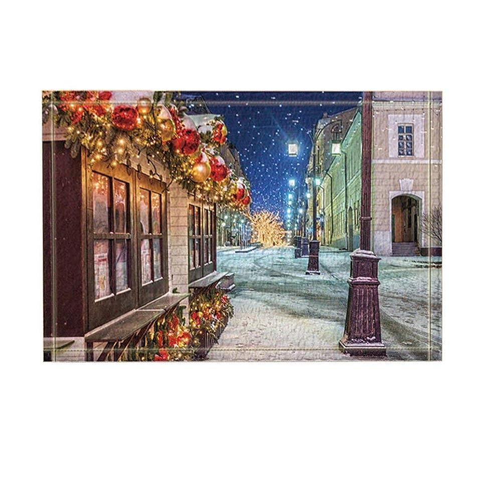 リード制限する物理クリスマスの装飾クリスマスの夜ストリートビューバスラグ滑り止め玄関マット玄関屋内玄関マットキッズマットバスルームアクセサリー 75x45cm