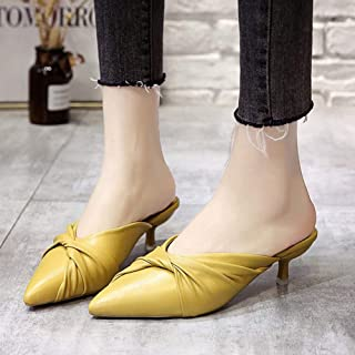 Fashion baotou pointed PU stiletto wild slippers women shoes