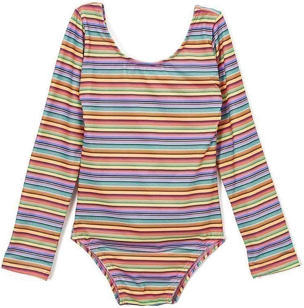 Azul Big Girls Multi Color Stripe Machu Pichu Long Sleeve Leotard Swimsuit 6-14