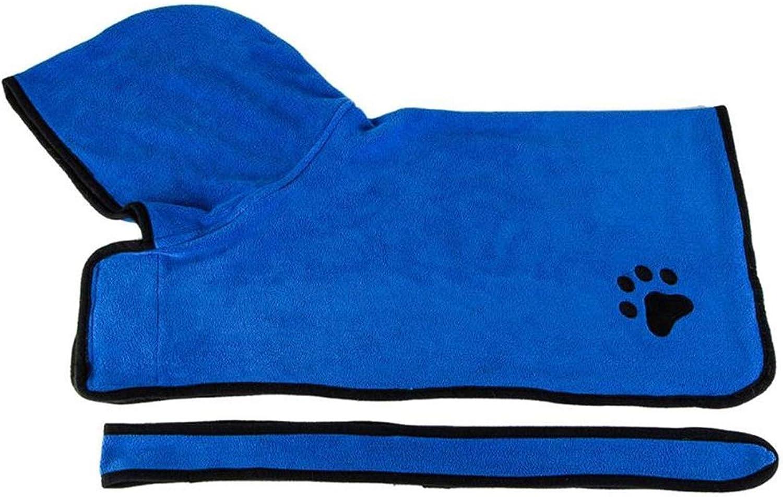 PEHTEN Warm Pet Dog Clothes Super Absorbent Drying Bath Towel Absorbent Shower Hooded Bathrobe with Waist Belt Grooming Pet Product bluee XL