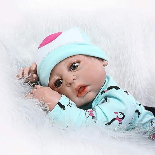 XdremYU Handgemachte Baby Reborn Puppe Open Eyes Vinyl Silikon lebensechte Kinder begleiten Spielzeug