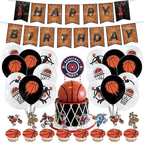 RCLHH Baloncesto Fiesta De Cumpleaños Suministros De Fiesta, Bandera Cumpleaños Globos Látex Topper, Slam Dunk Decoraciones Cumpleaños para Niños Adolescentes Decoraciones Deportivas