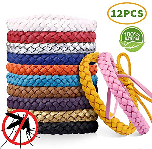 AIMTOP Mückenschutz Armband, 12 Stück Moskito Armband Repellent Naturals Mücken Armband, Mückenarmband Mücken Gürtel Schutz für Kinder Erwachsene Indoor Outdoor