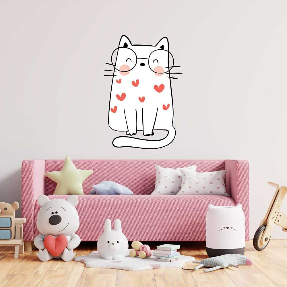 Wall Decal Vinyl Sticker Cute Cat Limited time trial price Glasses Girls with National products Litlle Room