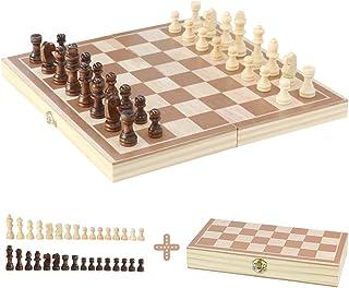 EchecEnfant en Bois Jeu d'échecs Jeux de Société Loisir Creatif Pliant Echiquier Plateau 32 Jeu Echecs Bois Jouet en Bois...
