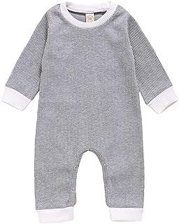 الوليد الطفل رومبير كم طويل مخطط الصلبة عارضة بذلة طفل الرضع playsuit الاطفال ازياء الملابس (Color : Gray, Kid Size : 24M)