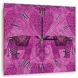 carowall CAROWALL.COM Reloj de Pared Cuadrado Elefantes Decoración Corazones Rosa 60x60 cm