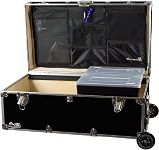 C&N Footlockers Happy Camper Trunk with Wheels, LidMate Organizer, and Tray - Durable Storage Chest - 32 x 18 x 13.5 Inches (Black)