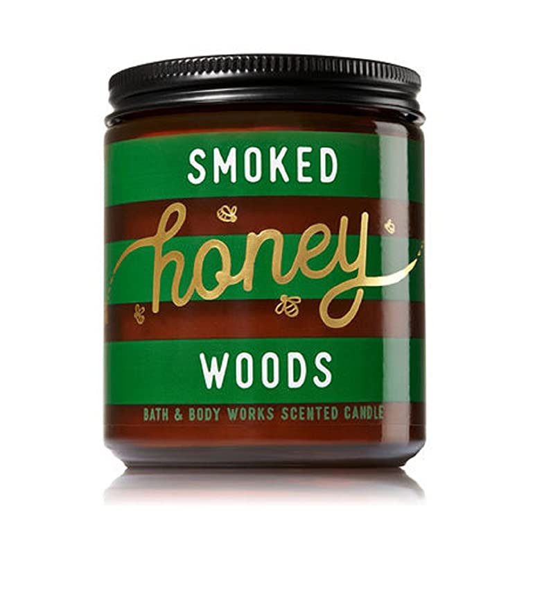 そんなにミスペンド主権者Bath & Body Works SMOKED HONEY WOODS Single Wick Scented Glass Candle 210ml with Lid