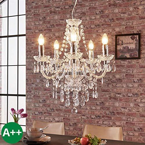 Lindby Kronleuchter 'Merida' dimmbar in Transparent u.a. für Wohnzimmer & Esszimmer (5 flammig, E14, A++) - Pendelleuchte, Hängelampe, Lüster, Lampe, Deckenleuchte, Deckenlampe